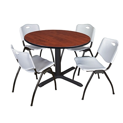Regency Cain 48 Round Breakroom Table- Cherry & 4 M Stack Chairs- Grey