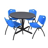 Regency Cain 48 Round Breakroom Table- Grey & 4 M Stack Chairs- Blue