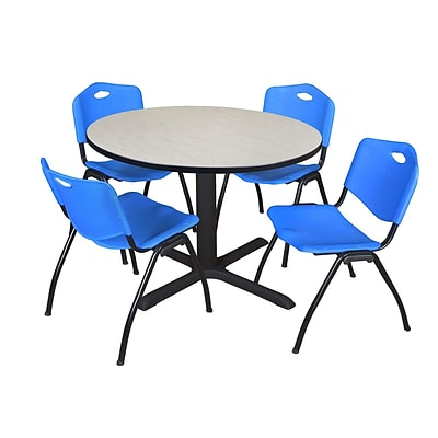 Regency Cain 48 Round Breakroom Table- Maple & 4 M Stack Chairs- Blue