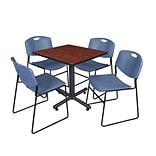 Regency Kobe 30 Square Breakroom Table- Cherry & 4 Zeng Stack Chairs- Blue