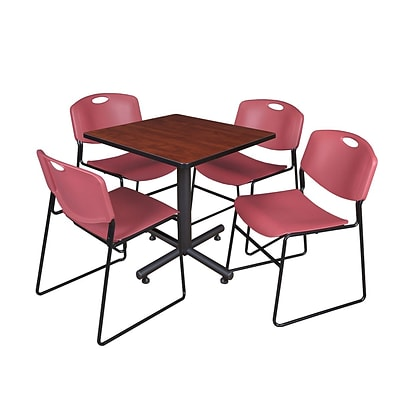 Regency Kobe 30 Square Breakroom Table- Cherry & 4 Zeng Stack Chairs- Burgundy