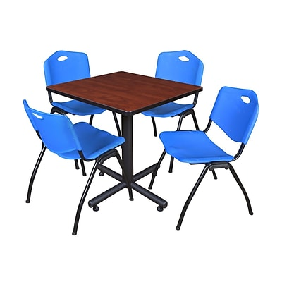 Regency Kobe 30 Square Breakroom Table- Cherry & 4 M Stack Chairs- Blue