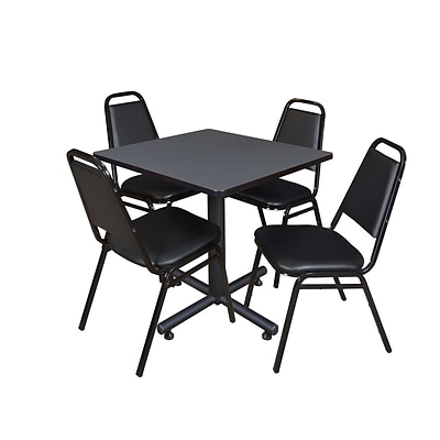 Regency Kobe 30 Square Breakroom Table- Grey & 4 Restaurant Stack Chairs- Black