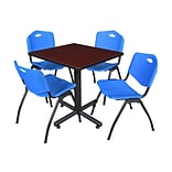 Regency Kobe 30 Square Breakroom Table- Mahogany & 4 M Stack Chairs- Blue