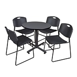 Regency Kobe 30 Round Breakroom Table- Grey & 4 Zeng Stack Chairs- Black
