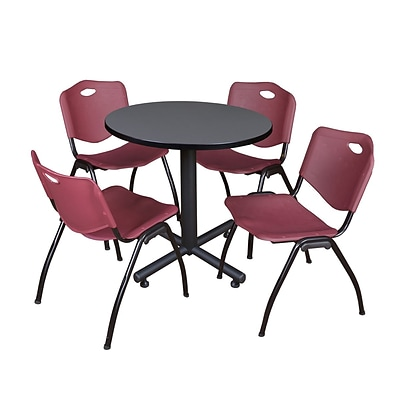Regency Kobe 30 Round Breakroom Table- Grey & 4 M Stack Chairs- Burgundy