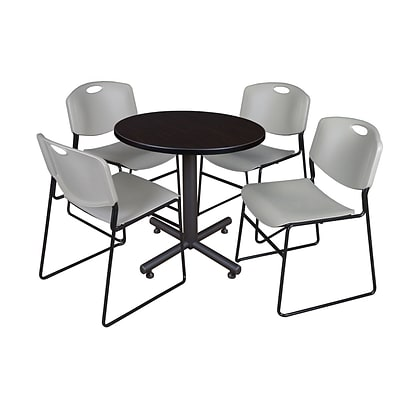 Regency Kobe 30 Round Breakroom Table- Mocha Walnut & 4 Zeng Stack Chairs- Grey