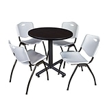 Regency Kobe 30 Round Breakroom Table- Mocha Walnut & 4 M Stack Chairs- Grey