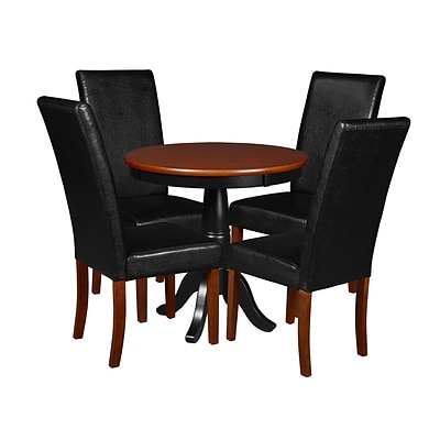 Niche Mod 30 Round Pedestal Table- Cherry/Black & 4 Tyler Dining Room Chairs- Cherry/Black