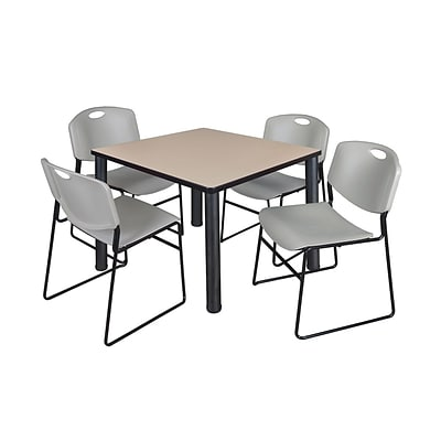 Regency Kee 42 Square Breakroom Table- Beige/ Black & 4 Zeng Stack Chairs- Grey