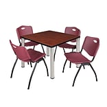 Regency Kee 42 Square Breakroom Table- Cherry/ Chrome & 4 M Stack Chairs- Burgundy