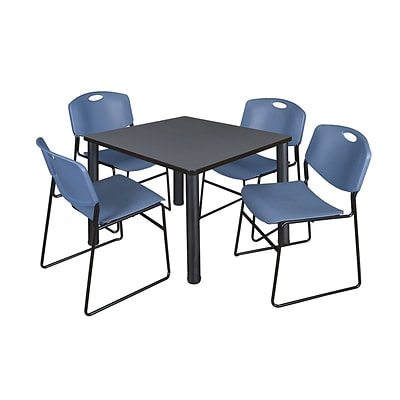 Regency Kee 42 Square Breakroom Table- Grey/ Black & 4 Zeng Stack Chairs- Blue