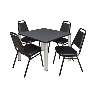 Regency Kee 42 Square Breakroom Table- Grey/ Chrome & 4 Restaurant Stack Chairs- Black