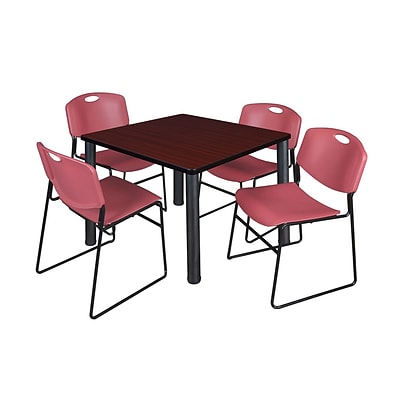 Regency Kee 42 Square Breakroom Table- Mahogany/ Black & 4 Zeng Stack Chairs- Burgundy