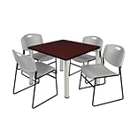 Regency Kee 42 Square Breakroom Table- Mahogany/ Chrome & 4 Zeng Stack Chairs- Grey