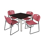 Regency Kee 42 Square Breakroom Table- Mocha Walnut/ Chrome & 4 Zeng Stack Chairs- Burgundy
