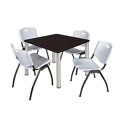 Regency Kee 42 Square Breakroom Table- Mocha Walnut/ Chrome & 4 M Stack Chairs- Grey