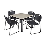 Regency Kee 42 Square Breakroom Table- Maple/ Black & 4 Zeng Stack Chairs- Black