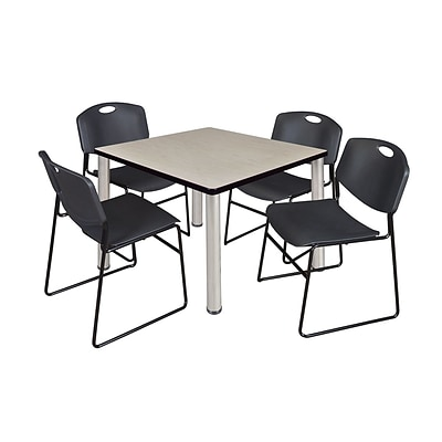 Regency Kee 42 Square Breakroom Table- Maple/ Chrome & 4 Zeng Stack Chairs- Black