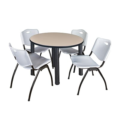 Regency Kee 42 Round Breakroom Table- Beige/ Black & 4 M Stack Chairs- Grey