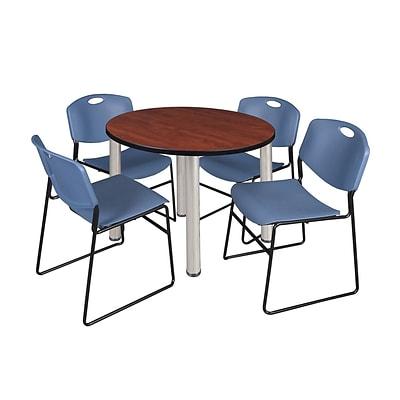 Regency Kee 42 Round Breakroom Table- Cherry/ Chrome & 4 Zeng Stack Chairs- Blue