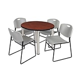 Regency Kee 42 Round Breakroom Table- Cherry/ Chrome & 4 Zeng Stack Chairs- Grey