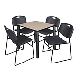 Regency Kee 30 Square Breakroom Table- Beige/ Black & 4 Zeng Stack Chairs- Black