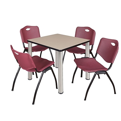 Regency Kee 30 Square Breakroom Table- Beige/ Chrome & 4 M Stack Chairs- Burgundy