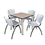 Regency Kee 30 Square Breakroom Table- Beige/ Chrome & 4 M Stack Chairs- Grey