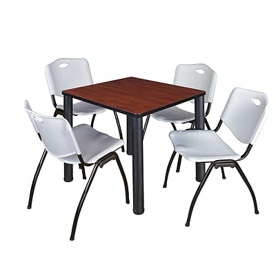 Regency Kee 30 Square Breakroom Table- Cherry/ Black & 4 M Stack Chairs- Grey