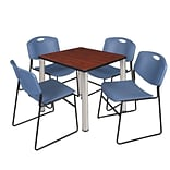 Regency Kee 30 Square Breakroom Table- Cherry/ Chrome & 4 Zeng Stack Chairs- Blue