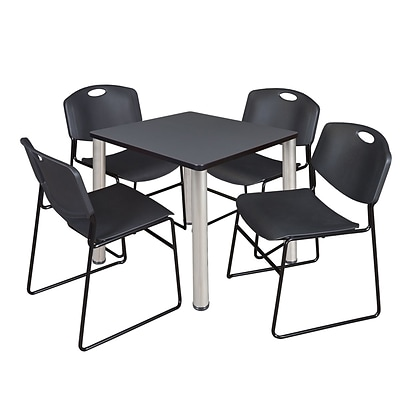 Regency Kee 30 Square Breakroom Table- Grey/ Chrome & 4 Zeng Stack Chairs- Black