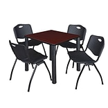 Regency Kee 30 Square Breakroom Table- Mahogany/ Black & 4 M Stack Chairs- Black