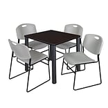 Regency Kee 30 Square Breakroom Table- Mocha Walnut/ Black & 4 Zeng Stack Chairs- Grey