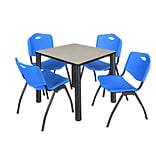 Regency Kee 30 Square Breakroom Table- Maple/ Black & 4 M Stack Chairs- Blue