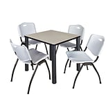 Regency Kee 30 Square Breakroom Table- Maple/ Black & 4 M Stack Chairs- Grey