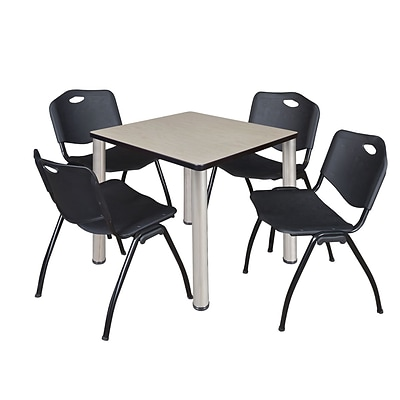 Regency Kee 30 Square Breakroom Table- Maple/ Chrome & 4 M Stack Chairs- Black