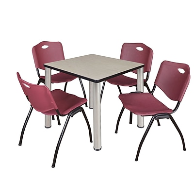 Regency Kee 30 Square Breakroom Table- Maple/ Chrome & 4 M Stack Chairs- Burgundy