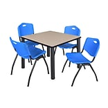 Regency Kee 36 Square Breakroom Table- Beige/ Black & 4 M Stack Chairs- Blue