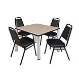 Regency Kee 36 Square Breakroom Table- Beige/ Chrome & 4 Restaurant Stack Chairs- Black