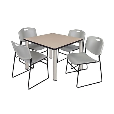 Regency Kee 36 Square Breakroom Table- Beige/ Chrome & 4 Zeng Stack Chairs- Grey