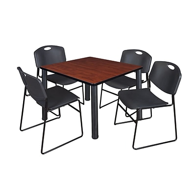 Regency Kee 36 Square Breakroom Table- Cherry/ Black & 4 Zeng Stack Chairs- Black