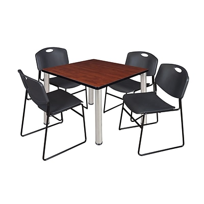Regency Kee 36 Square Breakroom Table- Cherry/ Chrome & 4 Zeng Stack Chairs- Black