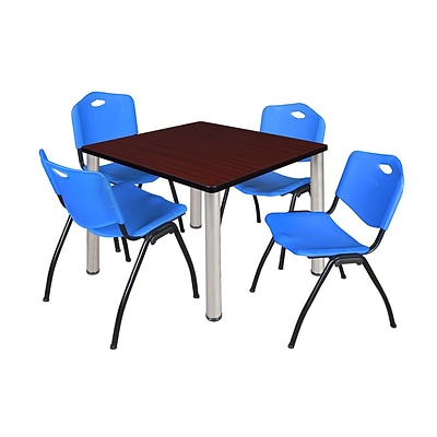 Regency Kee 36 Square Breakroom Table- Mahogany/ Chrome & 4 M Stack Chairs- Blue