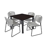 Regency Kee 36 Square Breakroom Table- Mocha Walnut/ Black & 4 Zeng Stack Chairs- Grey