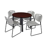 Regency Kee 42 Round Breakroom Table- Mahogany/ Black & 4 Zeng Stack Chairs- Grey