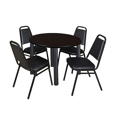 Regency Kee 42 Round Breakroom Table- Mocha Walnut/ Black & 4 Restaurant Stack Chairs- Black