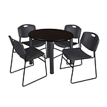 Regency Kee 42 Round Breakroom Table- Mocha Walnut/ Black & 4 Zeng Stack Chairs- Black