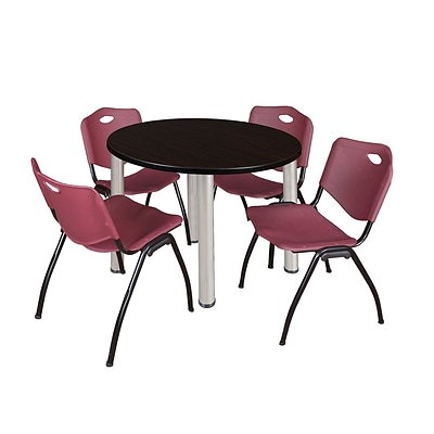 Regency Kee 42 Round Breakroom Table- Mocha Walnut/ Chrome & 4 M Stack Chairs- Burgundy