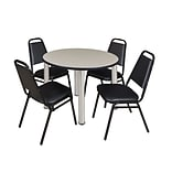 Regency Kee 42 Round Breakroom Table- Maple/ Chrome & 4 Restaurant Stack Chairs- Black